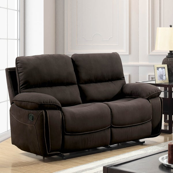 Bon Furniture Of America Raymond Transitional Dark Brown Fabric Loveseat