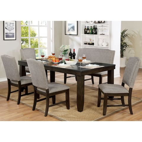 Furniture of America Fic Transitional Walnut 78-inch Dining Table