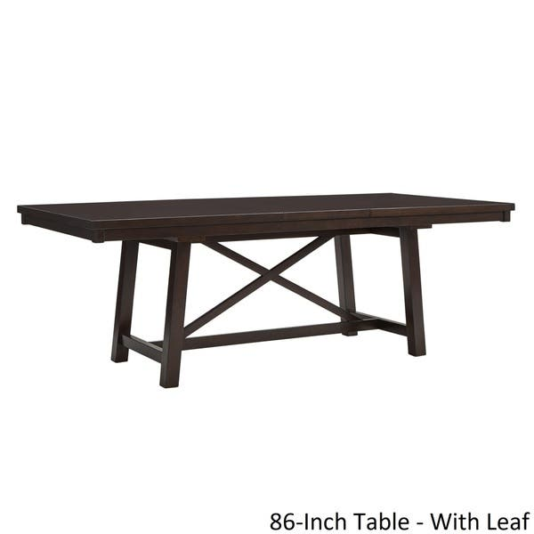 Louie Espresso X Trestle Base Extendable Dining Table By Inspire Q Classic Overstock 21296194