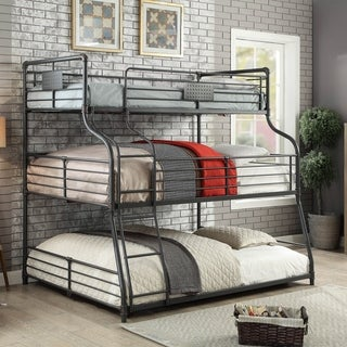 Furniture of America Syd Industrial Black Triple Decker Bunk Bed