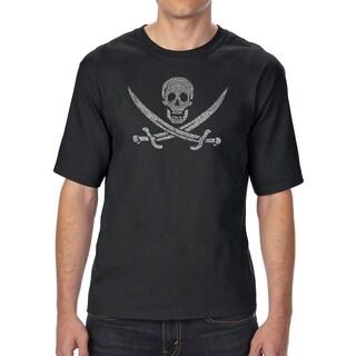 LA Pop Art Men's Tall Word Art T-shirt - LYRICS TO A LEGENDARY PIRATE SONG