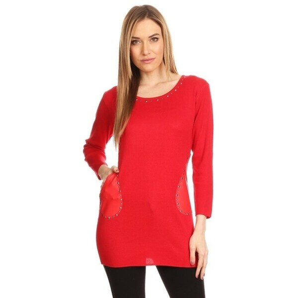 High Secret Women's Fitted Stud Embellished Faux Leather Pockets Long Sleeves Round Neck Tunic Top