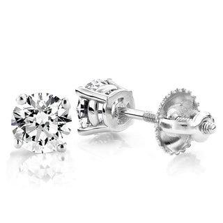 Solitaire 1 Carat Round Diamond Stud Earrings 4 Prong 18K Gold 1ctw F-G Color VS1-VS2 Clarity by Luxurman
