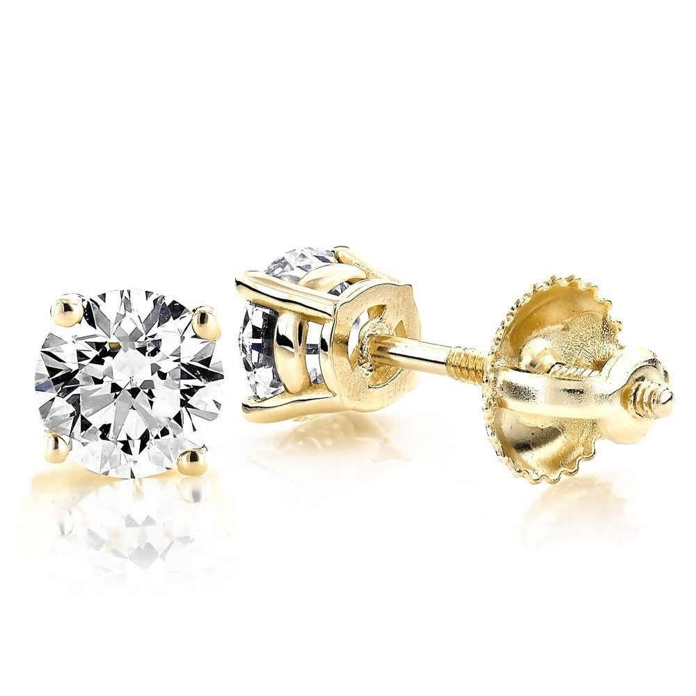 1.5 ct Brilliant Round Cut Solitaire Studs Designer Genuine Flawless VVS1 Yellow Simulated Diamond 14K 18K White Gold Earrings  Screw back