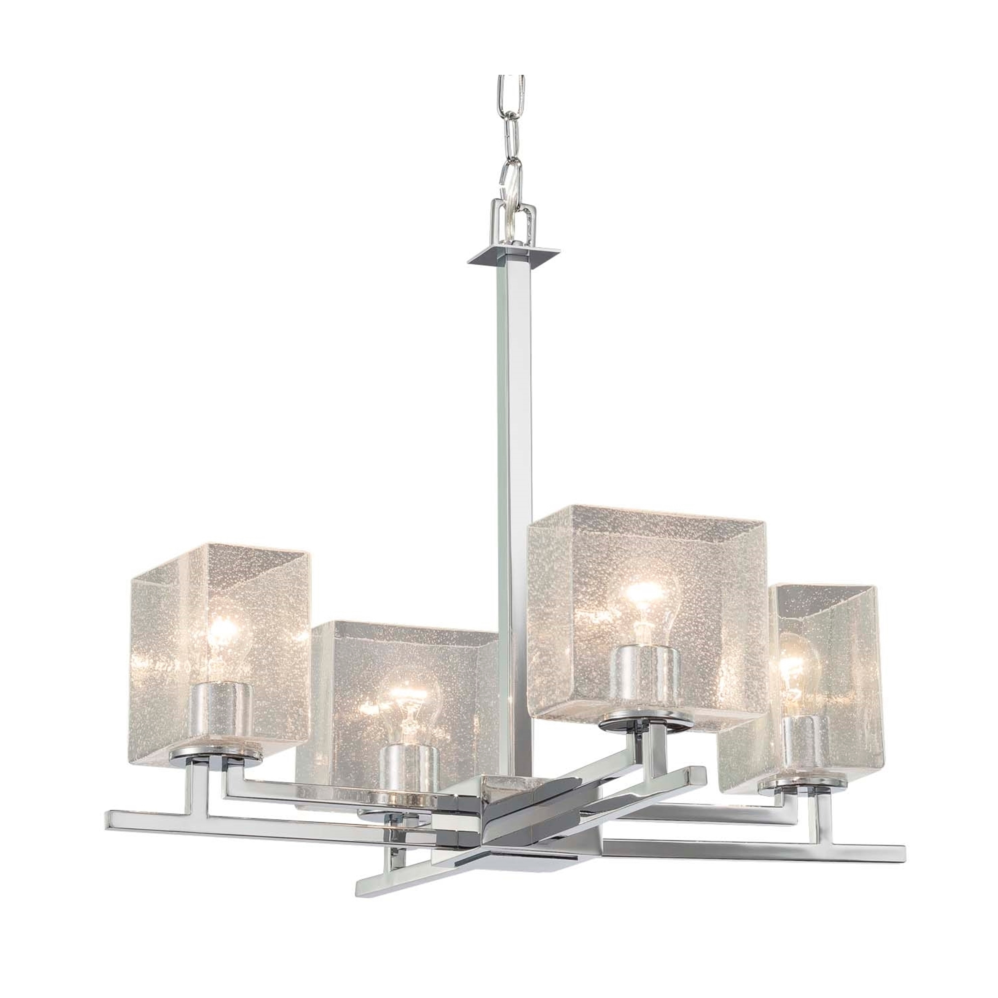 Justice Design Fusion Aero 4 Light Polished Chrome Chandelier Seeded Rectangle Shade Overstock 21297322