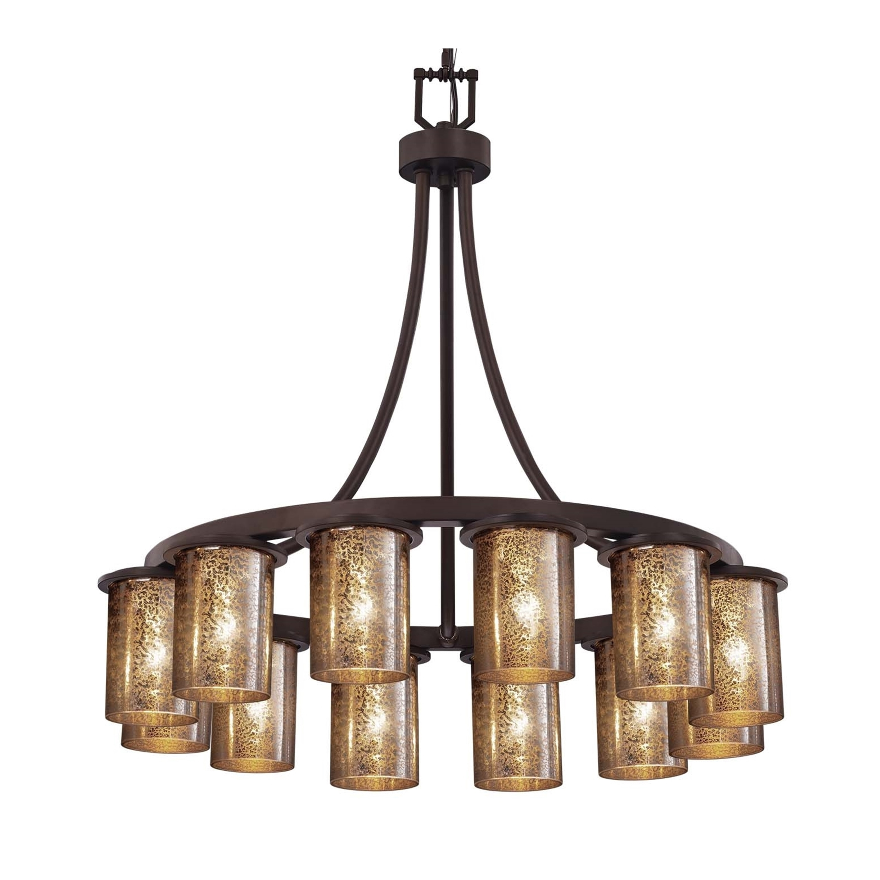 Justice design group fusion dakota 12 light dark bronze downlight chandelier short mercury glass cylinder w flat rim shade
