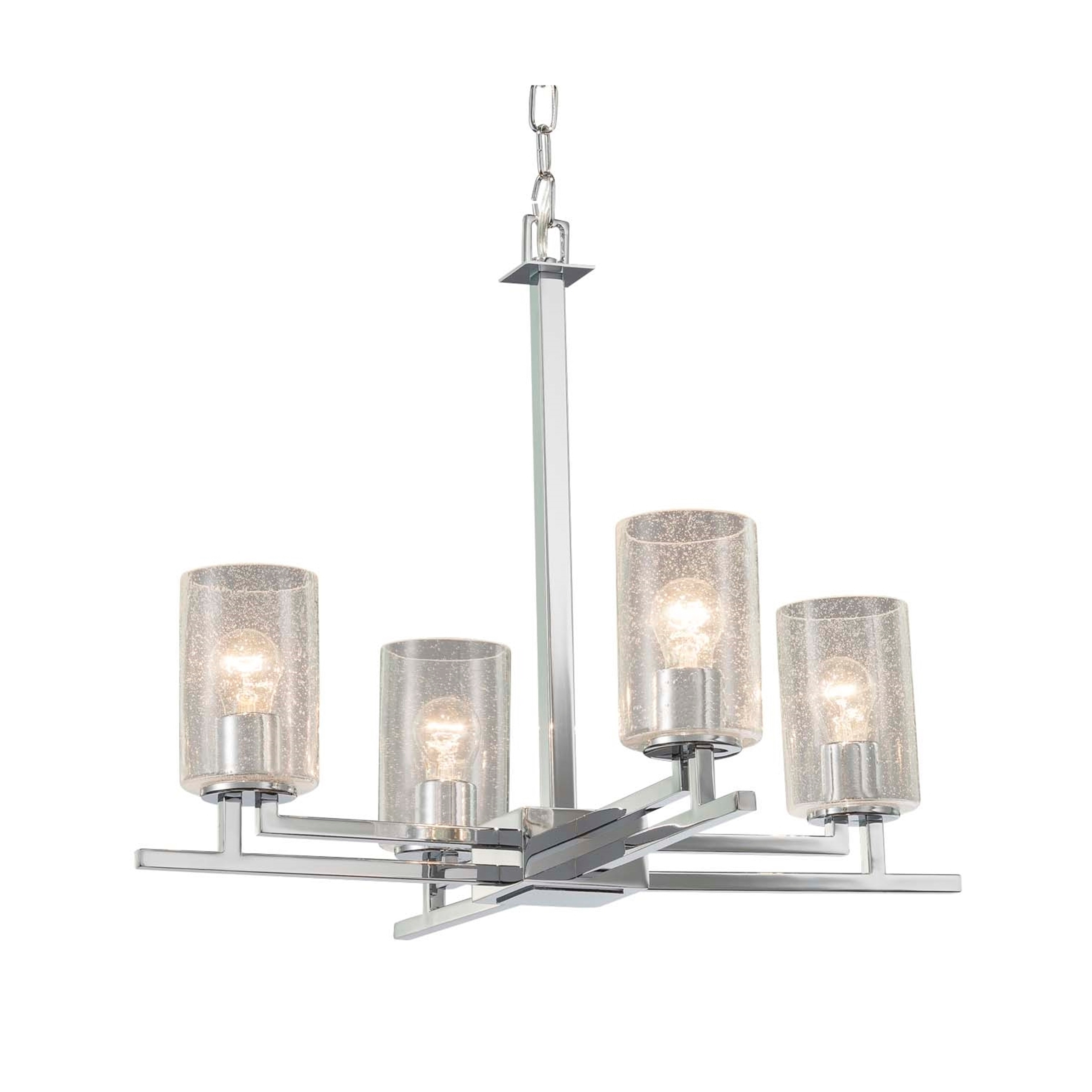 Justice Design Fusion Aero 4 Light Polished Chrome Chandelier Seeded Cylinder W Flat Rim Shade Overstock 21297340