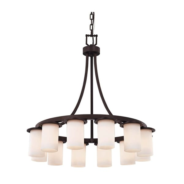 Justice Design Group Clouds Dakota 12-light Dark Bronze Downlight Chandelier, Short Clouds Cylinder w/ Flat Rim Shade