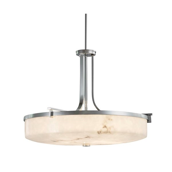 Justice Design Group LumenAria Era Polished Chrome 27-inch Round Pendant Bowl, Faux Alabaster Shade