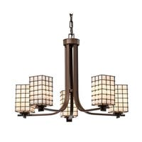 Justice Design Group Wire Glass Era 5-light Dark Bronze Chandelier, Grid with Opal Square w/ Flat Rim Shade