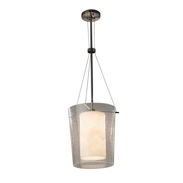 Justice Design Group Clouds Amani 1-light Polished Chrome Center Drum Pendant, Clouds Shade