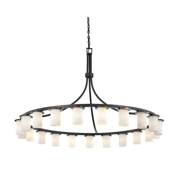 Justice Design Group Clouds Dakota 21-light Matte Black Downlight Chandelier, Clouds Cylinder w/ Flat Rim Shade