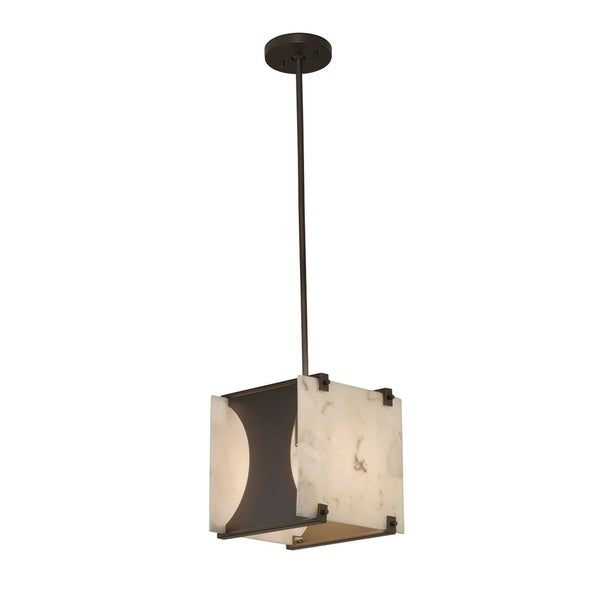 Justice Design Group Alabaster Rocks! Euclid Dark Bronze 10-inch Drum Pendant, Alabaster Rocks Shade