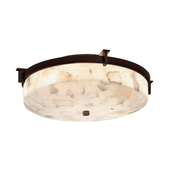 Justice Design Group Alabaster Rocks! Era Dark Bronze 14-inch Round Flush Mount, Alabaster Rocks Shade