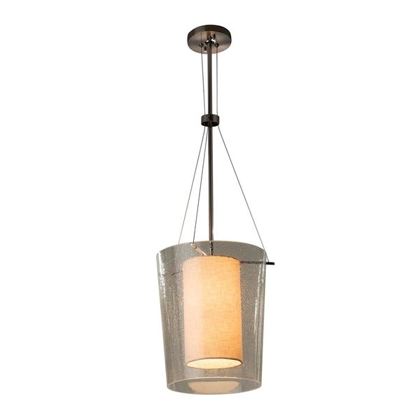 Justice Design Group Textile Amani 1-light Polished Chrome Center Drum Pendant, Cream Shade