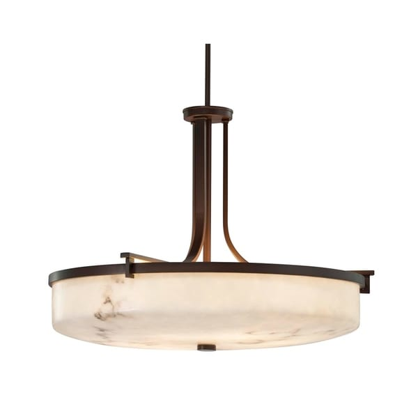 Justice Design Group LumenAria Era Dark Bronze 27-inch Round Pendant Bowl, Faux Alabaster Shade