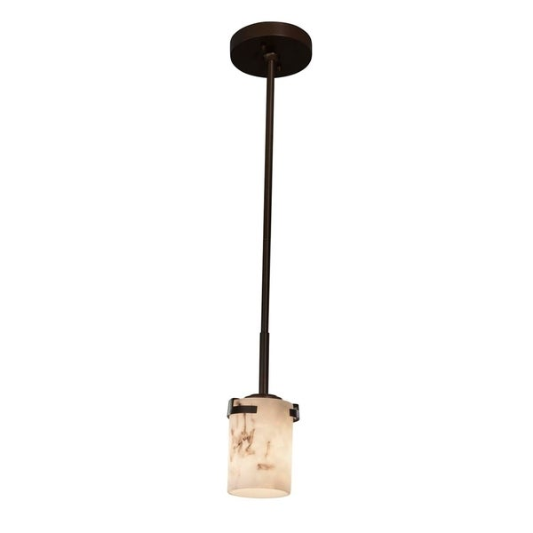 Justice Design Group LumenAria Atlas 1-light Dark Bronze Mini Pendant, Faux Alabaster Cylinder w/ Flat Rim Shade