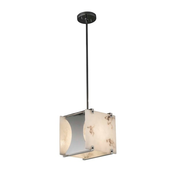 Justice Design Group LumenAria Euclid Polished Chrome 10-inch Drum Pendant, Faux Alabaster Shade