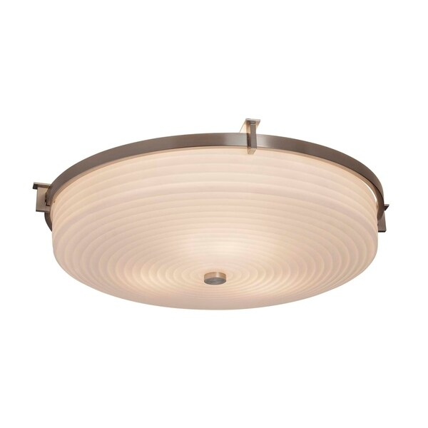 Justice Design Group Porcelina Era Brushed Nickel 21-inch Round Flush Mount, Sawtooth Impressions