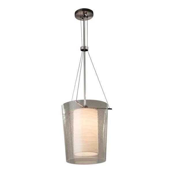 Justice Design Group Porcelina Amani 1-light Polished Chrome Center Drum Pendant, Waves Impressions