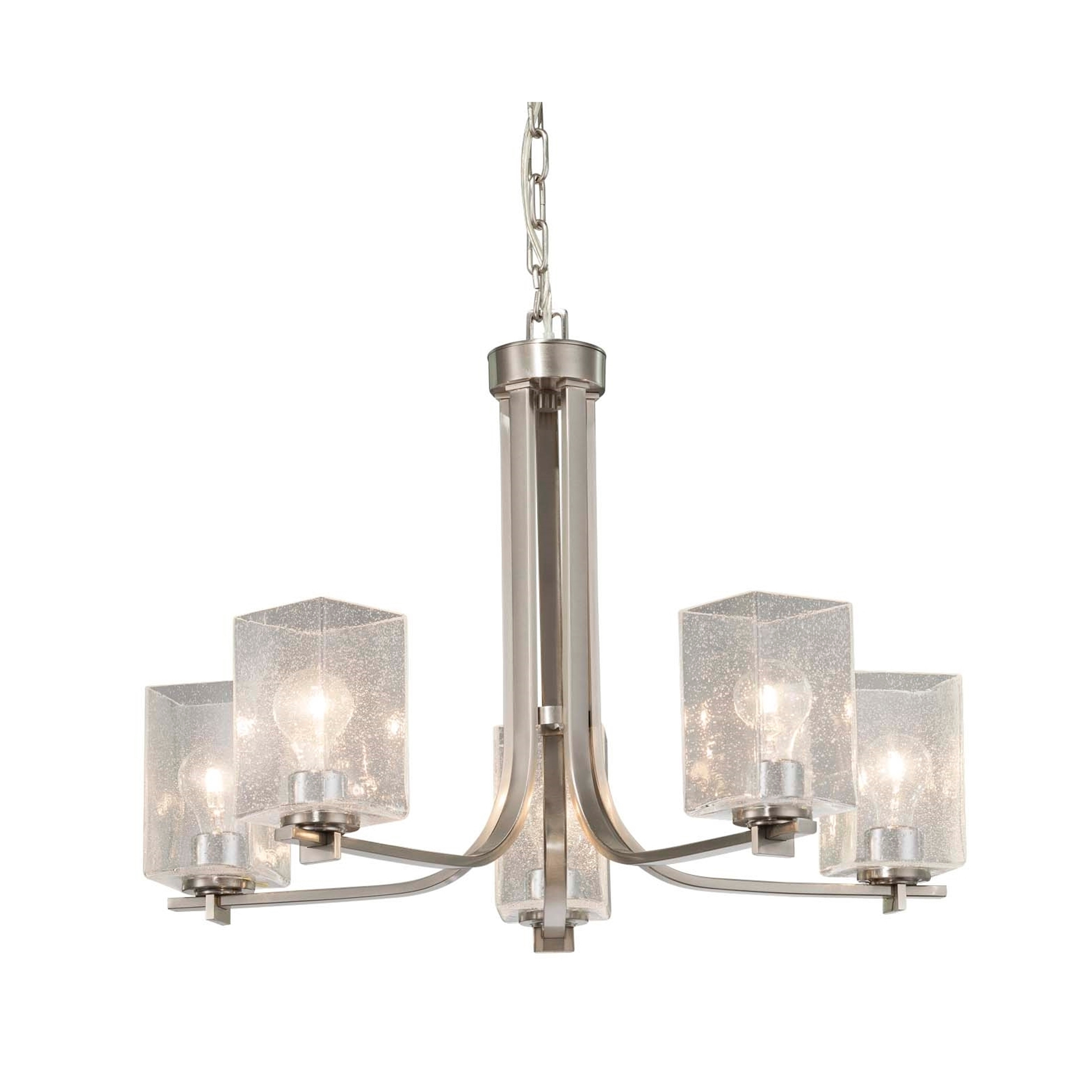 Justice Design Fusion Era 5 Light Brushed Nickel Chandelier Seeded Square W Flat Rim Shade Overstock 21297431