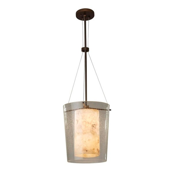 Justice Design Group Porcelina Amani 1-light Dark Bronze Center Drum Pendant, Waves Impressions