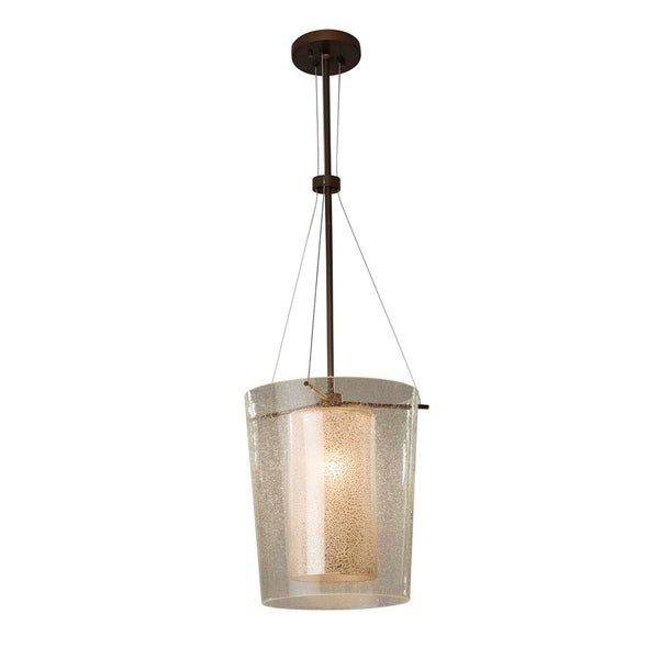 Justice Design Group Fusion Amani 1-light Dark Bronze Center Drum Pendant, Mercury Glass Shade