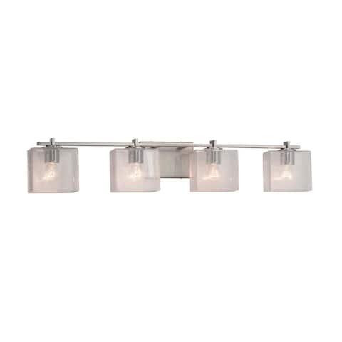 Justice Design Fusion Era 4-light Brushed Nickel Bath Bar, Seeded Rectangle Shade - Brushed Nickel