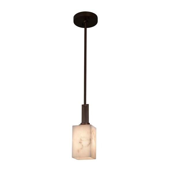 Justice Design Group LumenAria Era 1-light Dark Bronze Mini Pendant, Faux Alabaster Square w/ Flat Rim Shade