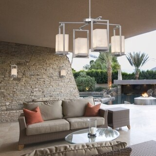 Justice Design Group Clouds Laguna 4-light Brushed Nickel LED Outdoor Chandelier, Clouds Shade