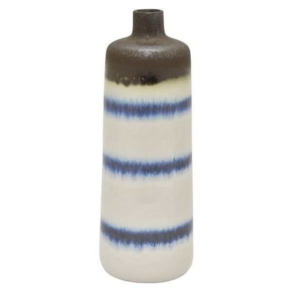 """Three Hands 15.75 """" Ceramic Vase in White"""