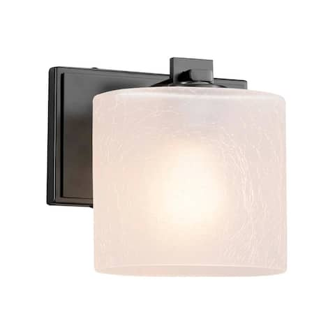 Justice Design Group Fusion Era 1-light Matte Black Wall Sconce, Frosted Crackle Oval Shade