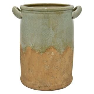 "Three Hands 11.75 "" Ceramic Vase in Green"