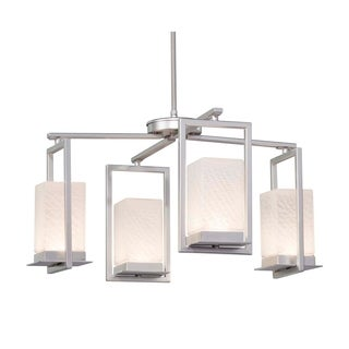 Justice Design Group Fusion Laguna 4-light Brushed Nickel LED Outdoor Chandelier, Weave Shade