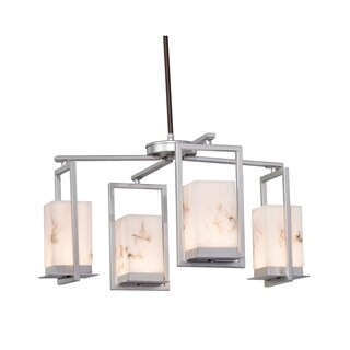 Justice Design Group LumenAria Laguna 4-light Brushed Nickel LED Outdoor Chandelier, Faux Alabaster Shade