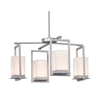 Justice Design Group Porcelina Laguna 4-light Brushed Nickel LED Outdoor Chandelier, Waves Impressions