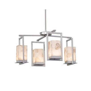 Justice Design Group Alabaster Rocks! Laguna 4-light Brushed Nickel LED Outdoor Chandelier, Alabaster Rocks Shade
