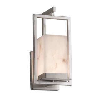 Justice Design Group LumenAria Laguna 1-light Brushed Nickel LED Outdoor Wall Sconce, Faux Alabaster Shade