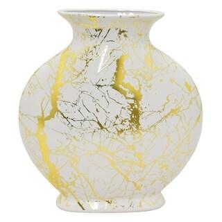 """Three Hands 12 """" Ceramic Vase in White"""