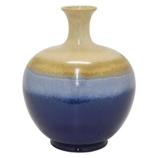 """Three Hands 12.5 """" Ceramic Vase in Blue"""