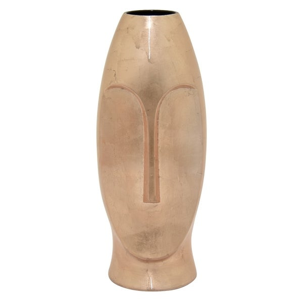 "Three Hands 15.75 "" Ceramic Vase - Rose Gold in Gold"