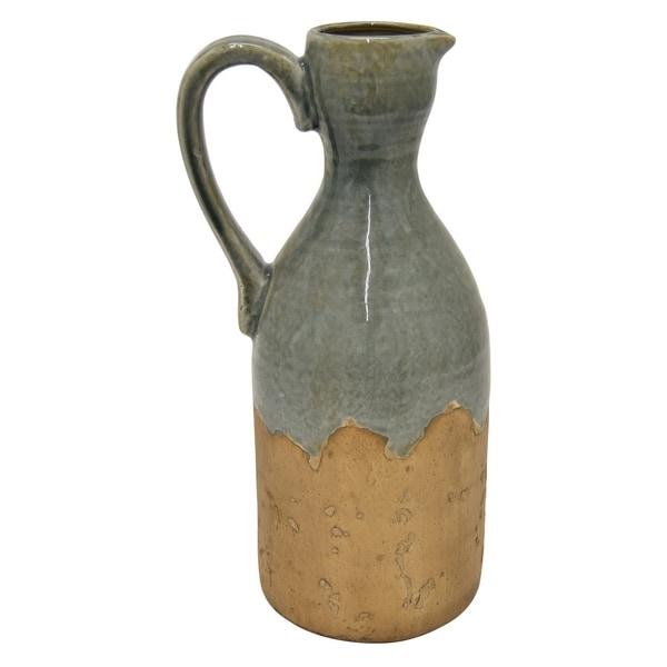 """Three Hands 14 """" Ceramic Pitcher Vase in Green"""