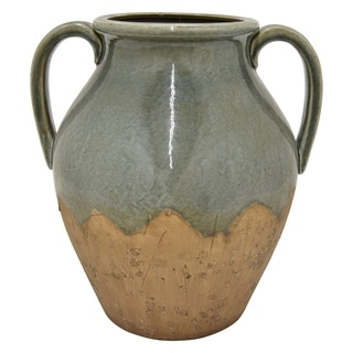 "Three Hands 13.5 "" Ceramic Vase in Green"