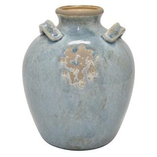 """Three Hands 11 """" Ceramic Vase in Blue"""