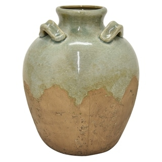 "Three Hands 11 "" Ceramic Vase in Green"