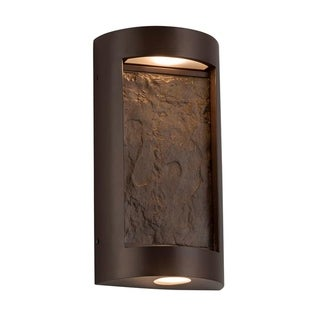 Justice Design Group Slate Litho 2-light Dark Bronze LED Outdoor Wall Sconce, Earth Shade