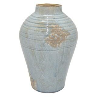 """Three Hands 13.5 """" Ceramic Vase in Blue"""