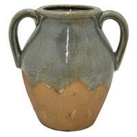"Three Hands 10 "" Ceramic Vase in Green"