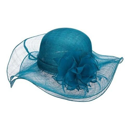 b779e0fad57 Women  x27 s Scala LD92 Sinamay Double Brim Hat with Organza Flower Lagoon