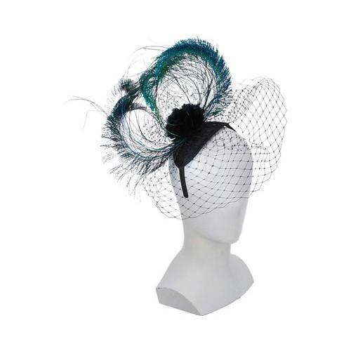 Women's Scala LDF58 Peacock Feather Fascinator Black